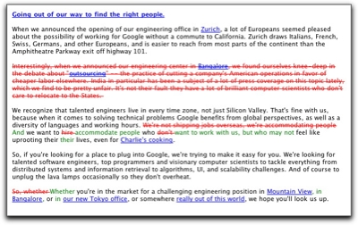 Google's outsourcing remarks