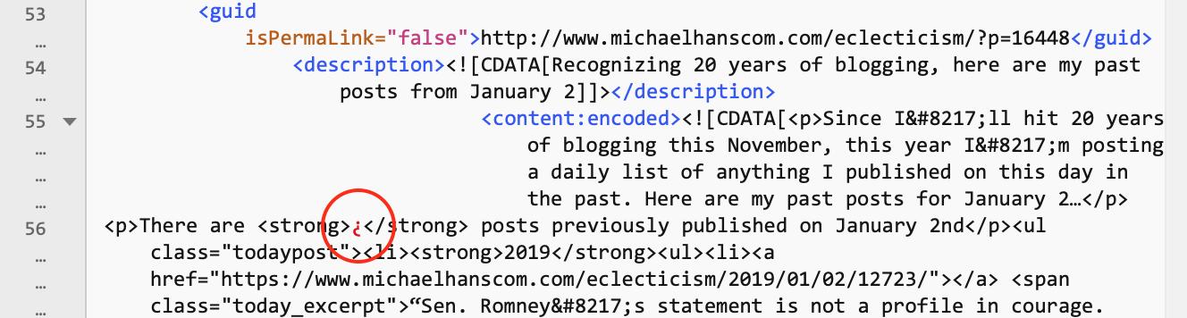 Screen shot of XML data