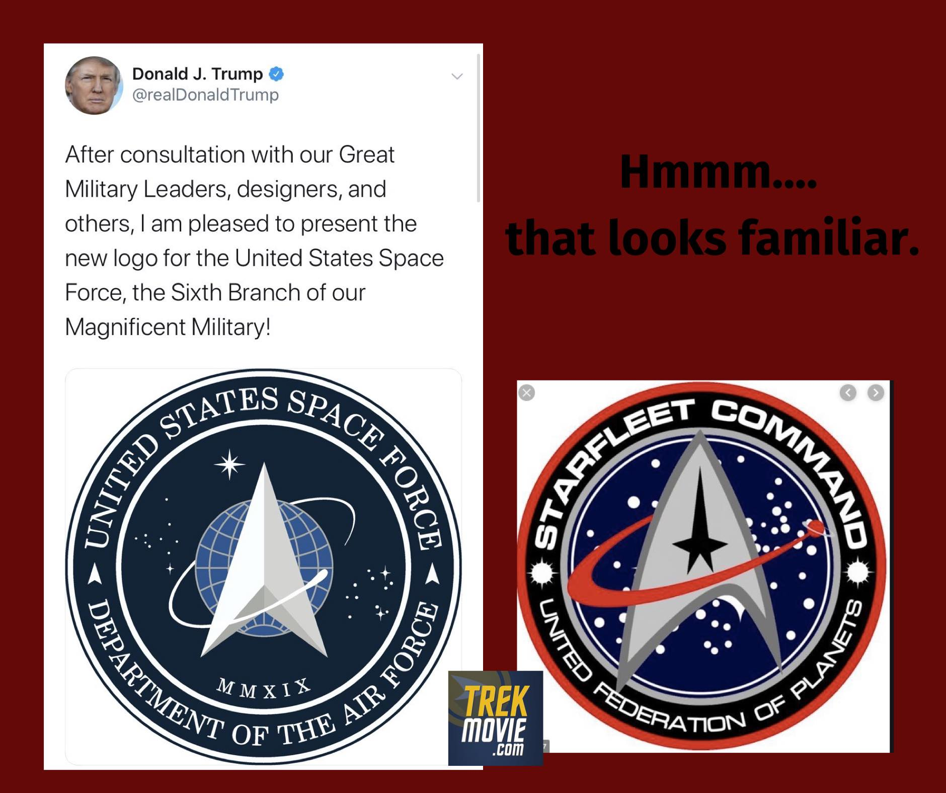 The US Space Force Logo is bascially the Starfleet logo