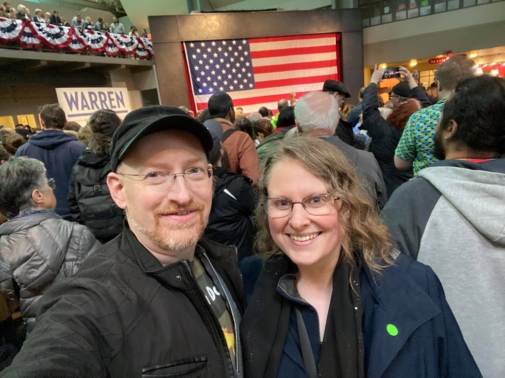 Prairie and I at the Elizabeth Warren rally