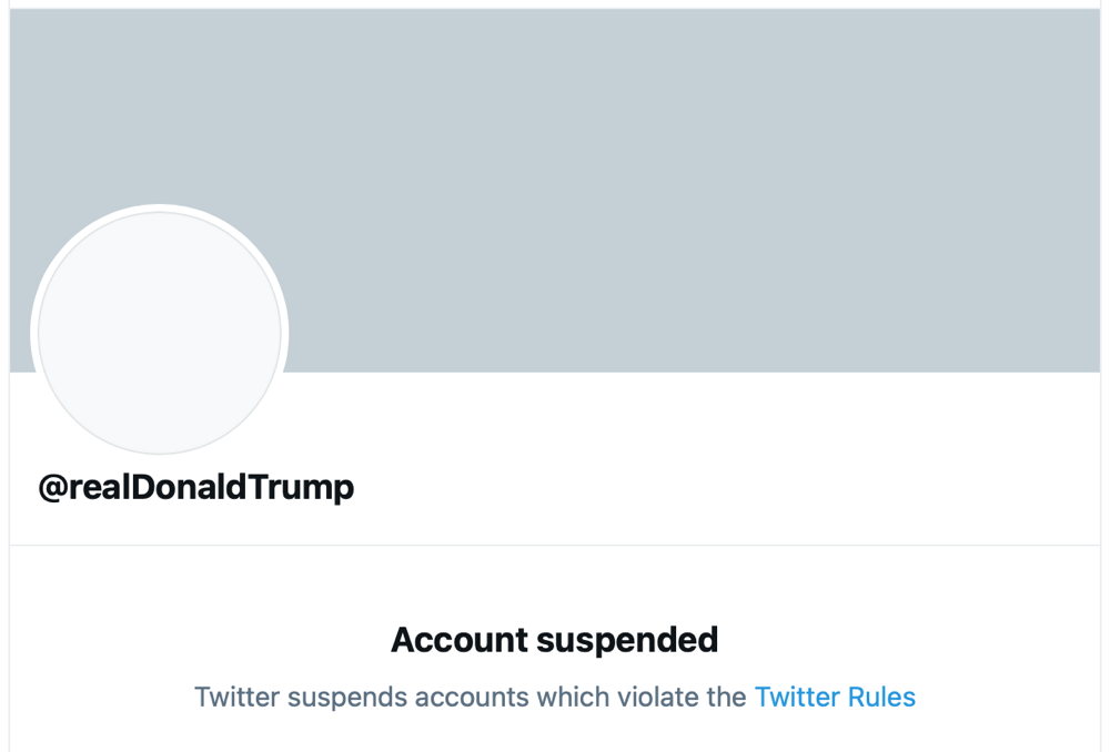Screenshot of Donald Trump's suspended Twitter account